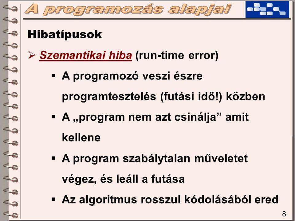 A programozás alapjai Hibatípusok Szemantikai hiba (run-time error)