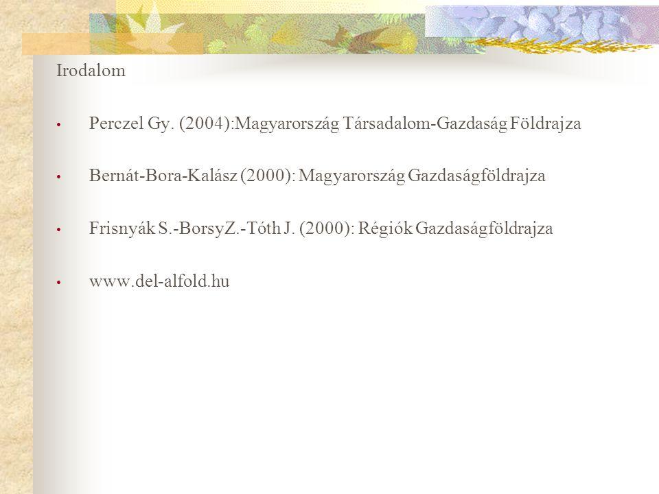 Irodalom Perczel Gy. (2004):Magyarország Társadalom-Gazdaság Földrajza. Bernát-Bora-Kalász (2000): Magyarország Gazdaságföldrajza.