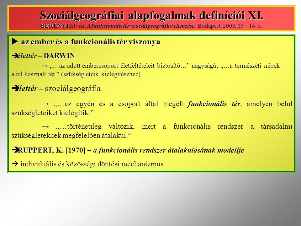 Szociálgeográfiai alapfogalmak definíciói XI