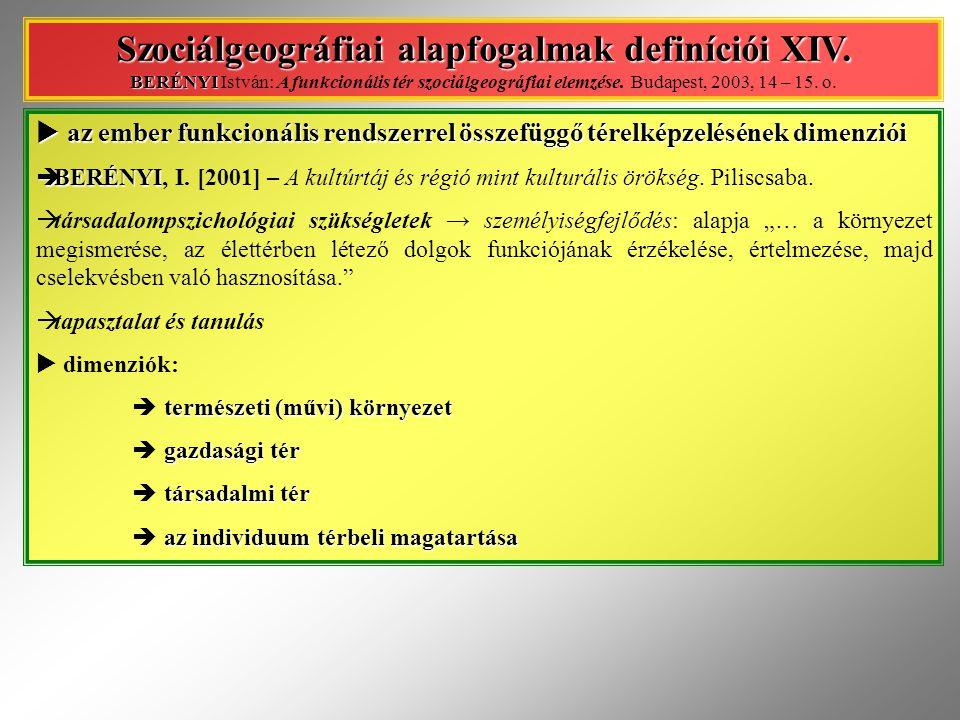 Szociálgeográfiai alapfogalmak definíciói XIV
