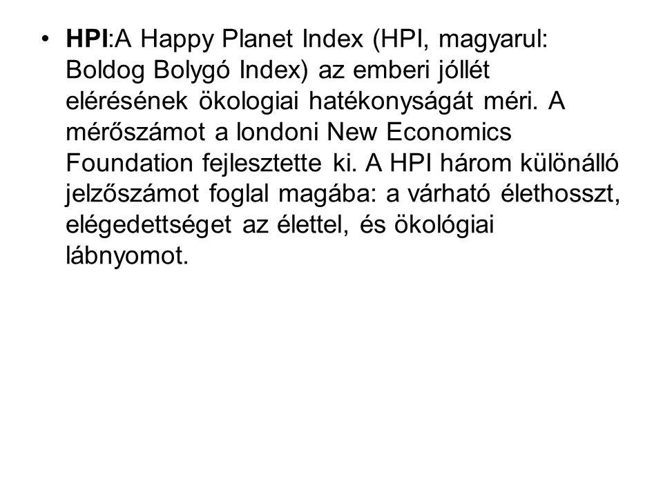 HPI:A Happy Planet Index (HPI, magyarul: Boldog Bolygó Index) az emberi jóllét elérésének ökologiai hatékonyságát méri.