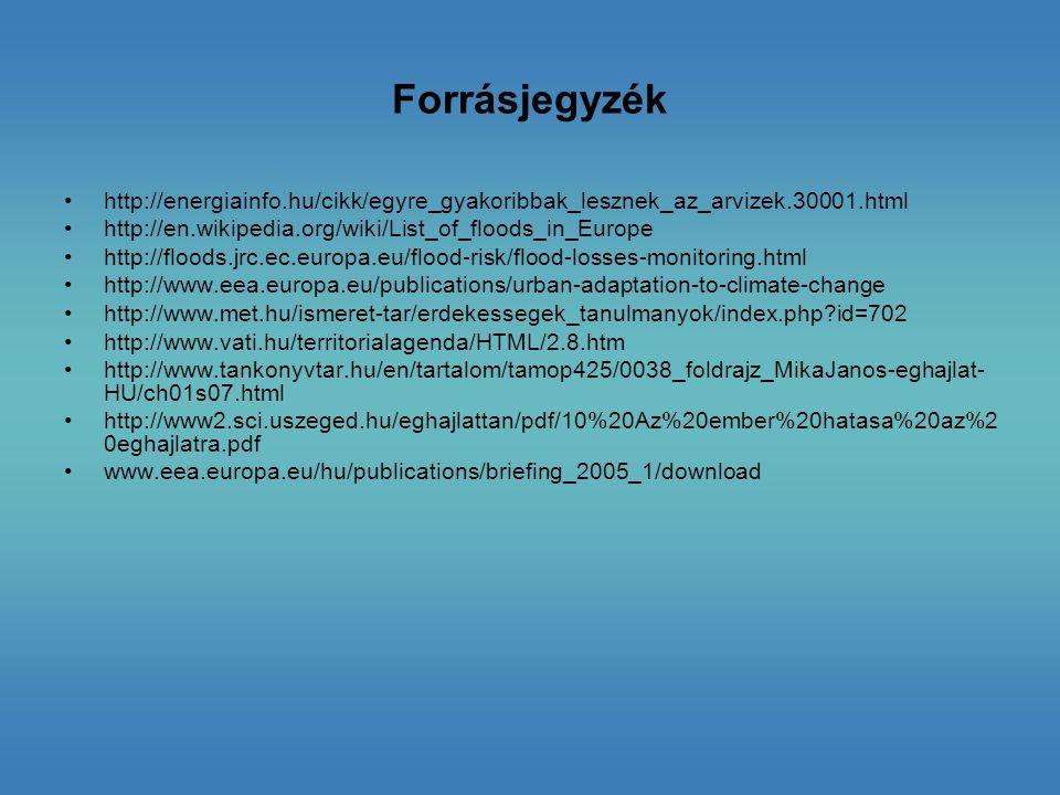 Forrásjegyzék http://energiainfo.hu/cikk/egyre_gyakoribbak_lesznek_az_arvizek.30001.html. http://en.wikipedia.org/wiki/List_of_floods_in_Europe.