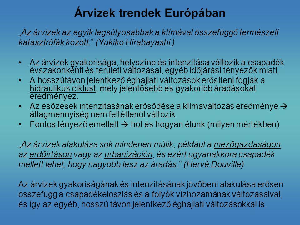 Árvizek trendek Európában
