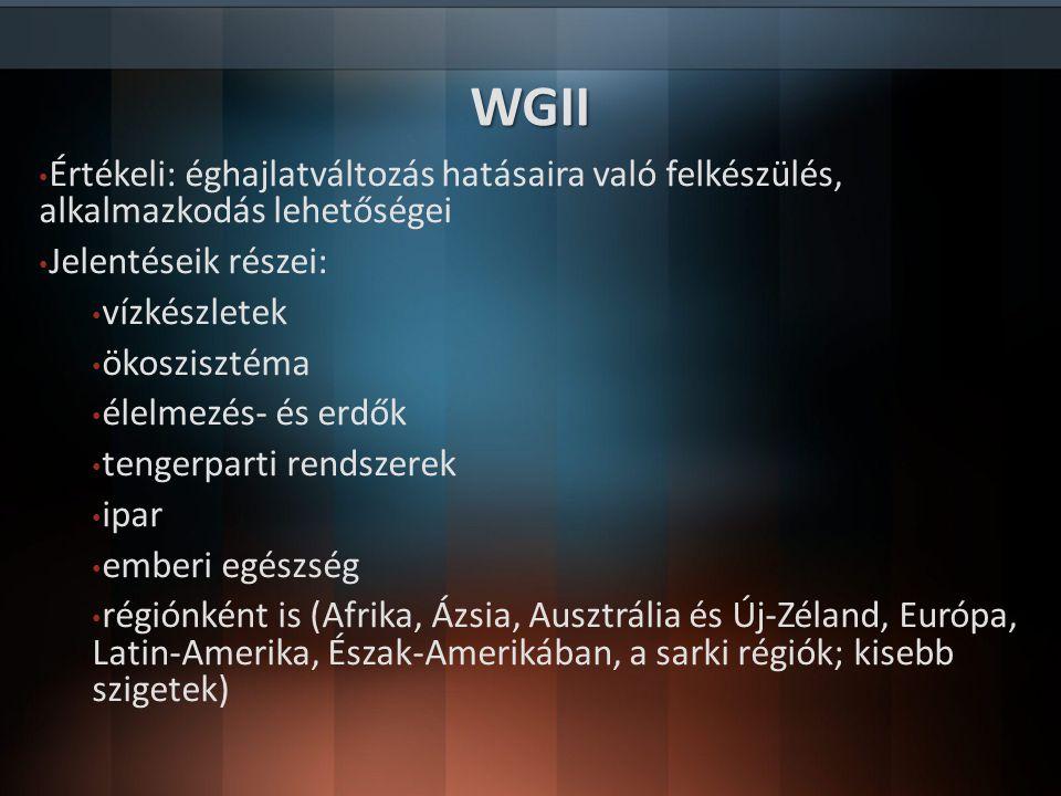 WGII Értékeli: éghajlatváltozás hatásaira való felkészülés, alkalmazkodás lehetőségei. Jelentéseik részei: