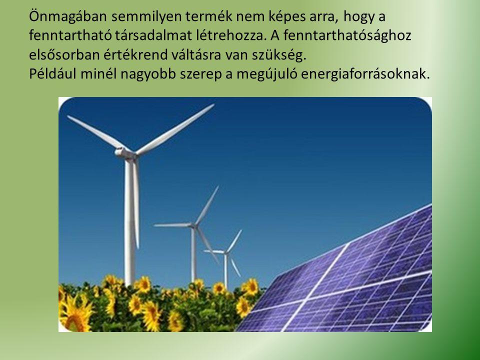 Önmagában semmilyen termék nem képes arra, hogy a fenntartható társadalmat létrehozza.
