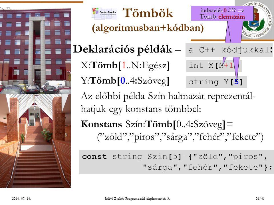 Tömbök (algoritmusban+kódban)