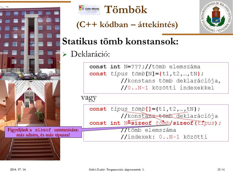 Tömbök (C++ kódban – áttekintés)