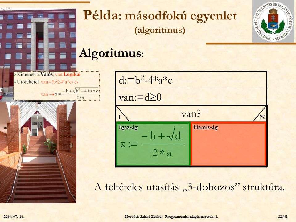 Példa: másodfokú egyenlet (algoritmus)