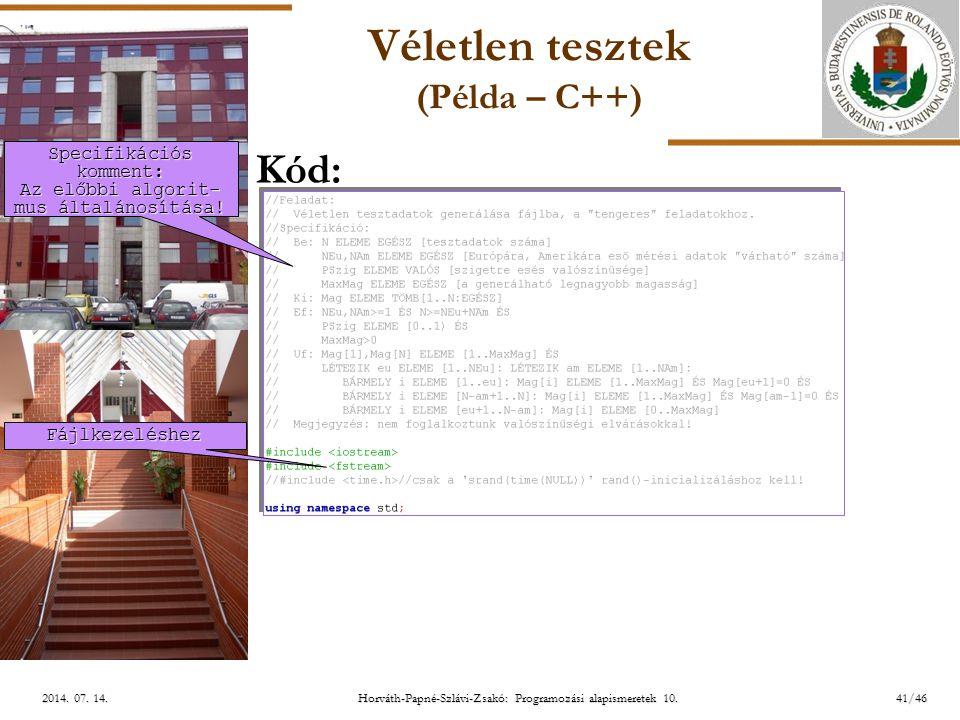 Véletlen tesztek (Példa – C++)