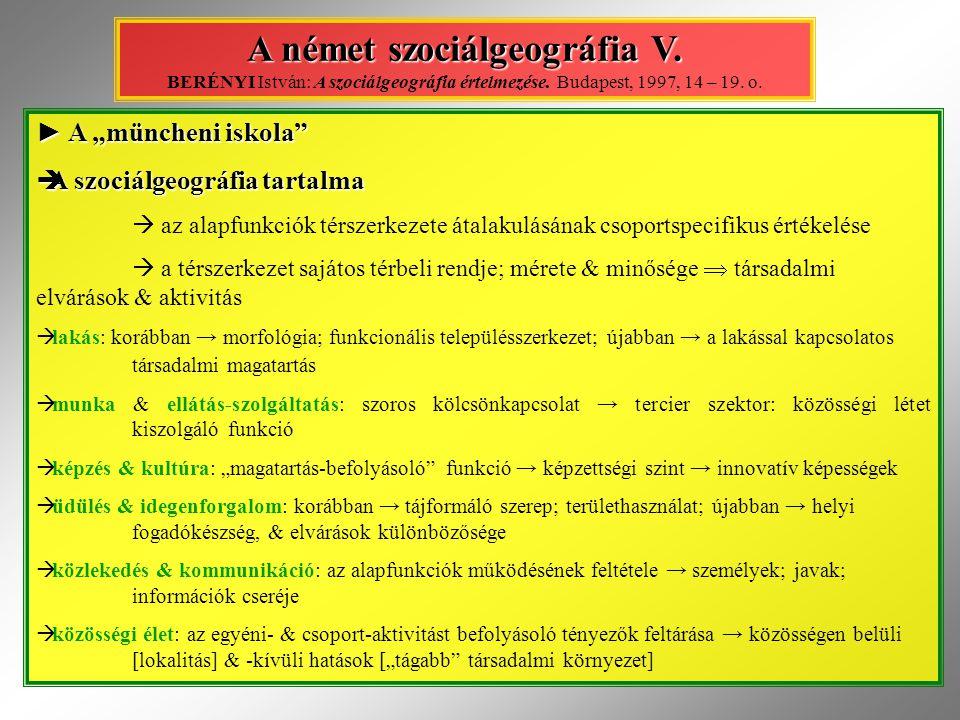 A német szociálgeográfia V