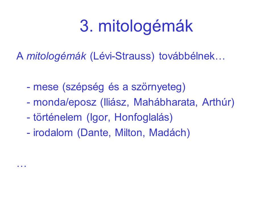 3. mitologémák A mitologémák (Lévi-Strauss) továbbélnek…