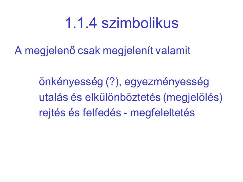 1.1.4 szimbolikus A megjelenő csak megjelenít valamit