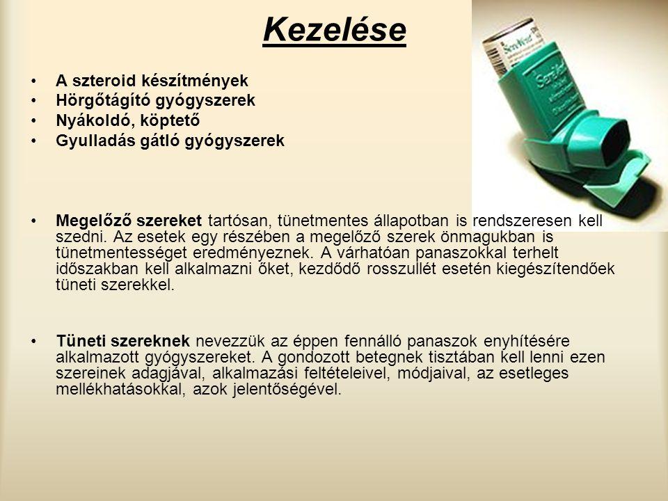 Kezelése A szteroid készítmények Hörgőtágító gyógyszerek