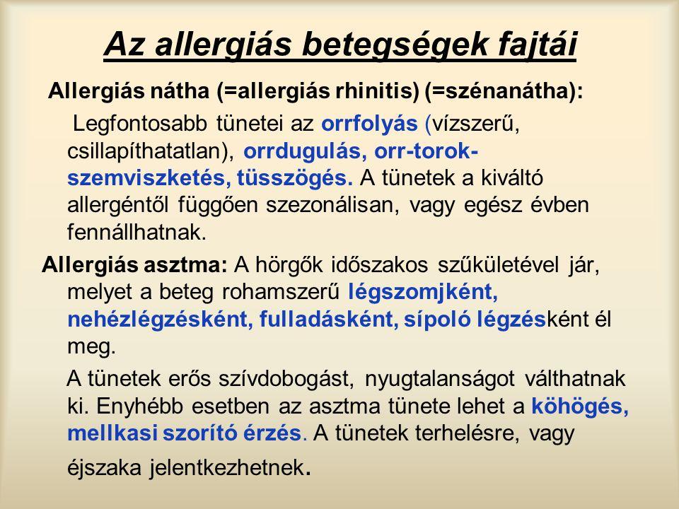 Az allergiás betegségek fajtái