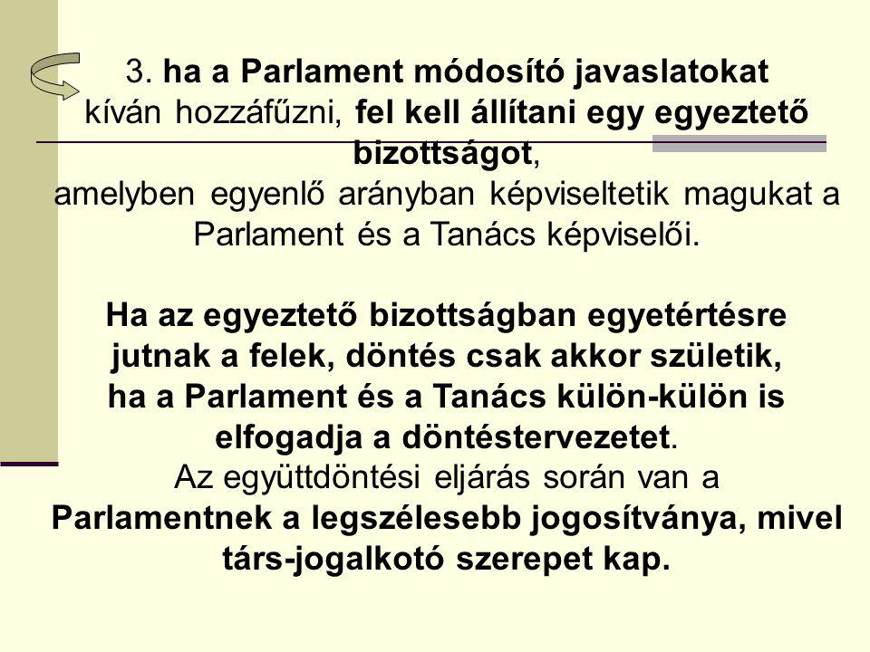 3. ha a Parlament módosító javaslatokat
