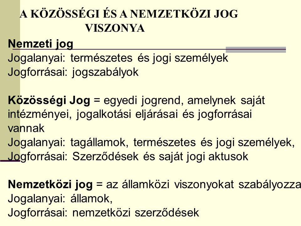 Jogalanyai: természetes és jogi személyek Jogforrásai: jogszabályok