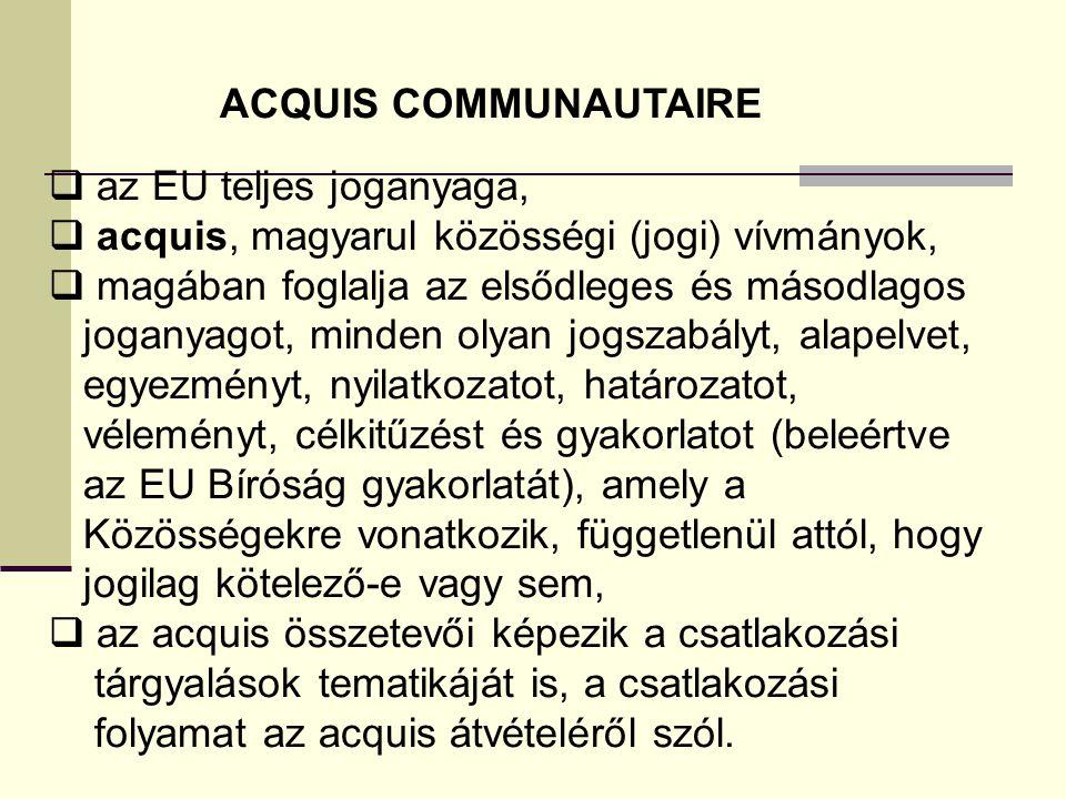 ACQUIS COMMUNAUTAIRE az EU teljes joganyaga, acquis, magyarul közösségi (jogi) vívmányok, magában foglalja az elsődleges és másodlagos.