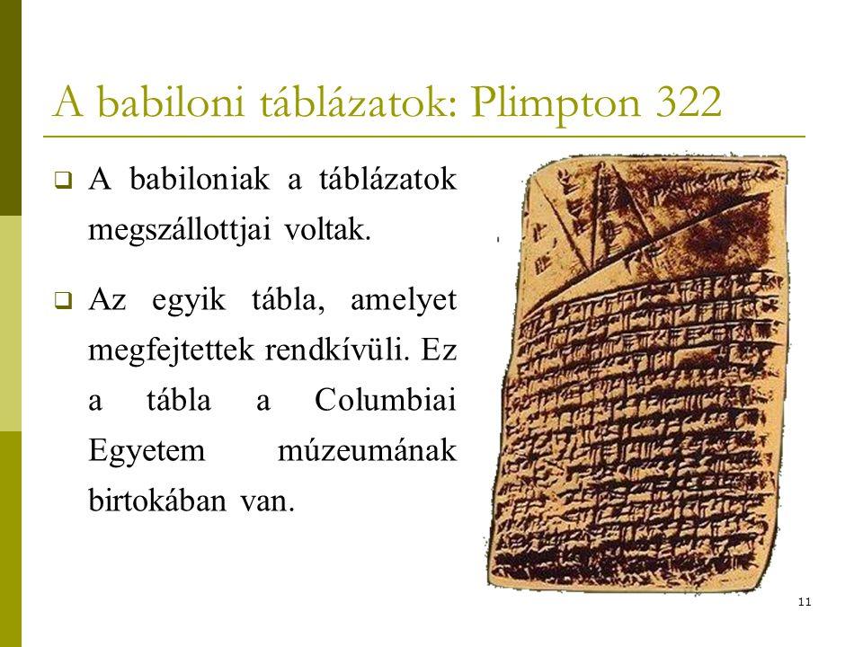 A babiloni táblázatok: Plimpton 322