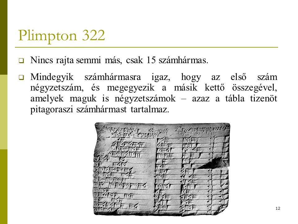 Plimpton 322 Nincs rajta semmi más, csak 15 számhármas.
