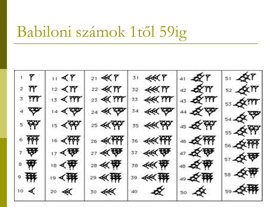 Babiloni számok 1től 59ig