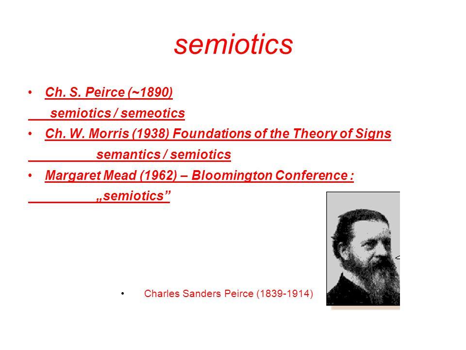 semiotics Ch. S. Peirce (~1890) semiotics / semeotics