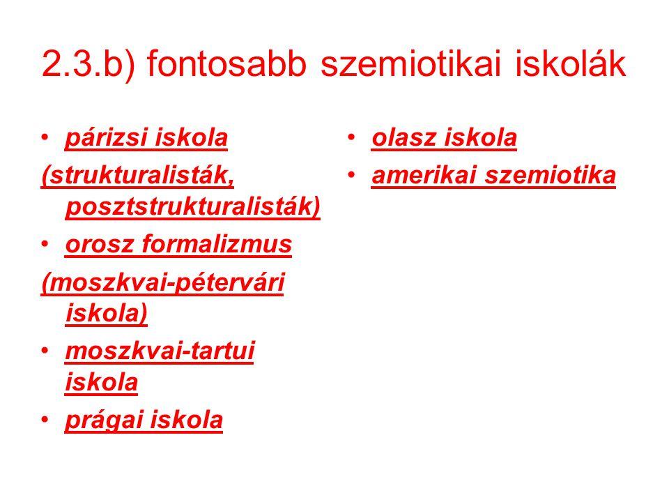 2.3.b) fontosabb szemiotikai iskolák