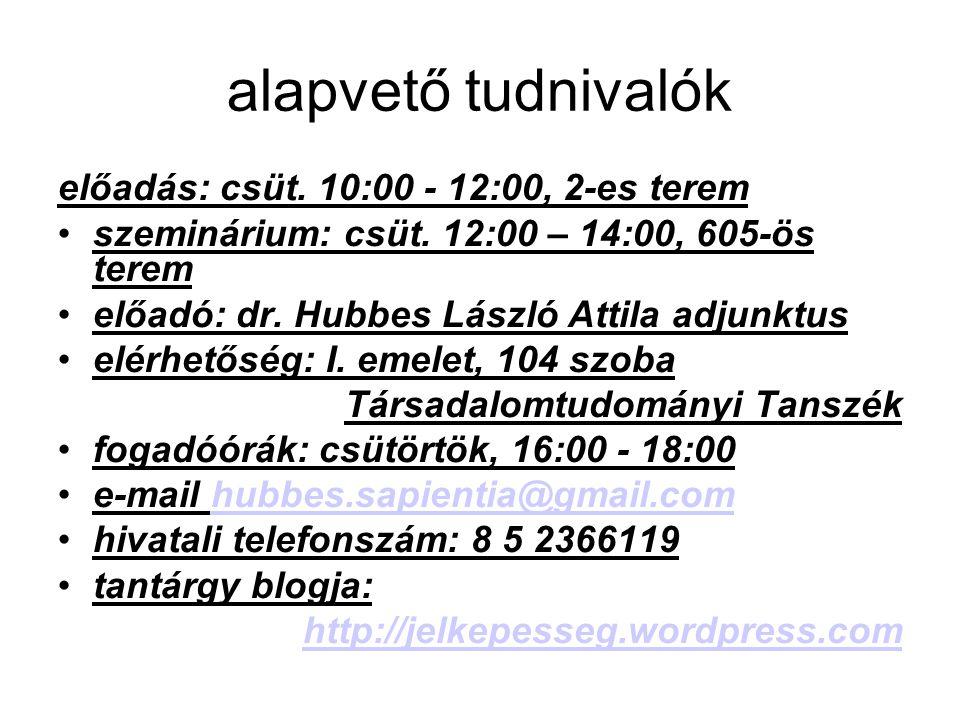 alapvető tudnivalók előadás: csüt. 10:00 - 12:00, 2-es terem