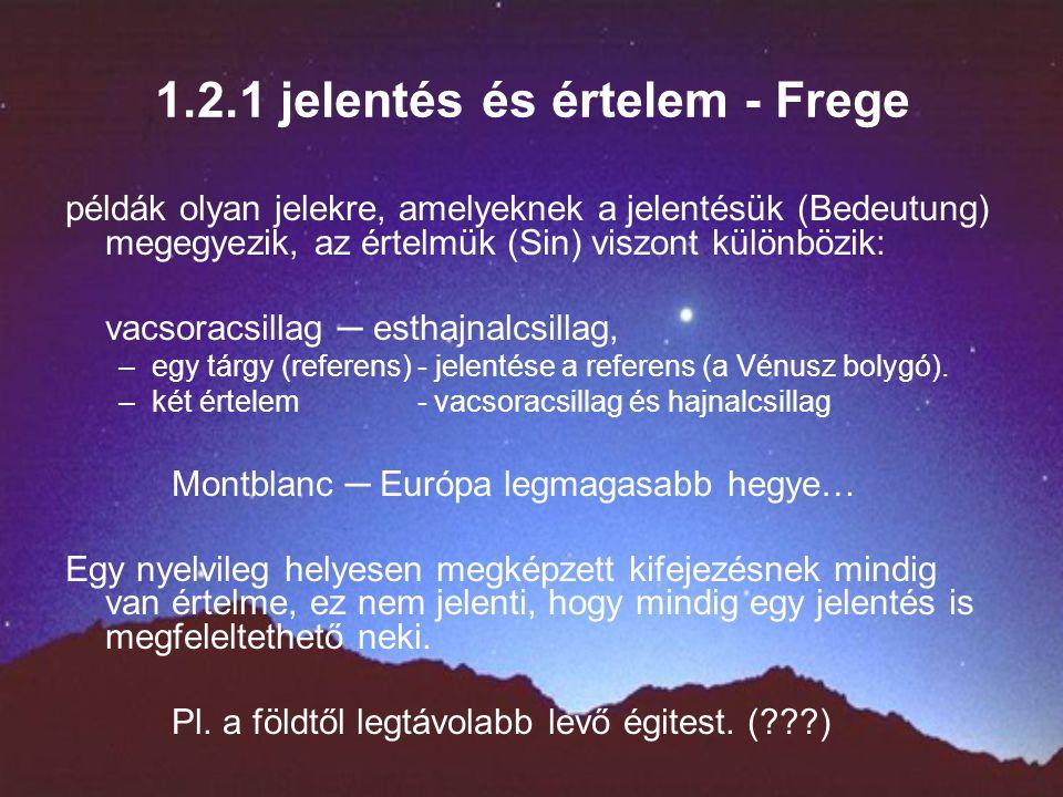 1.2.1 jelentés és értelem - Frege