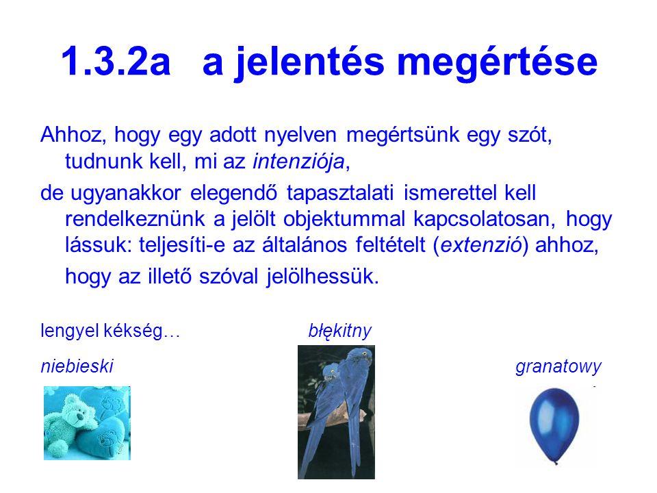1.3.2a a jelentés megértése Ahhoz, hogy egy adott nyelven megértsünk egy szót, tudnunk kell, mi az intenziója,