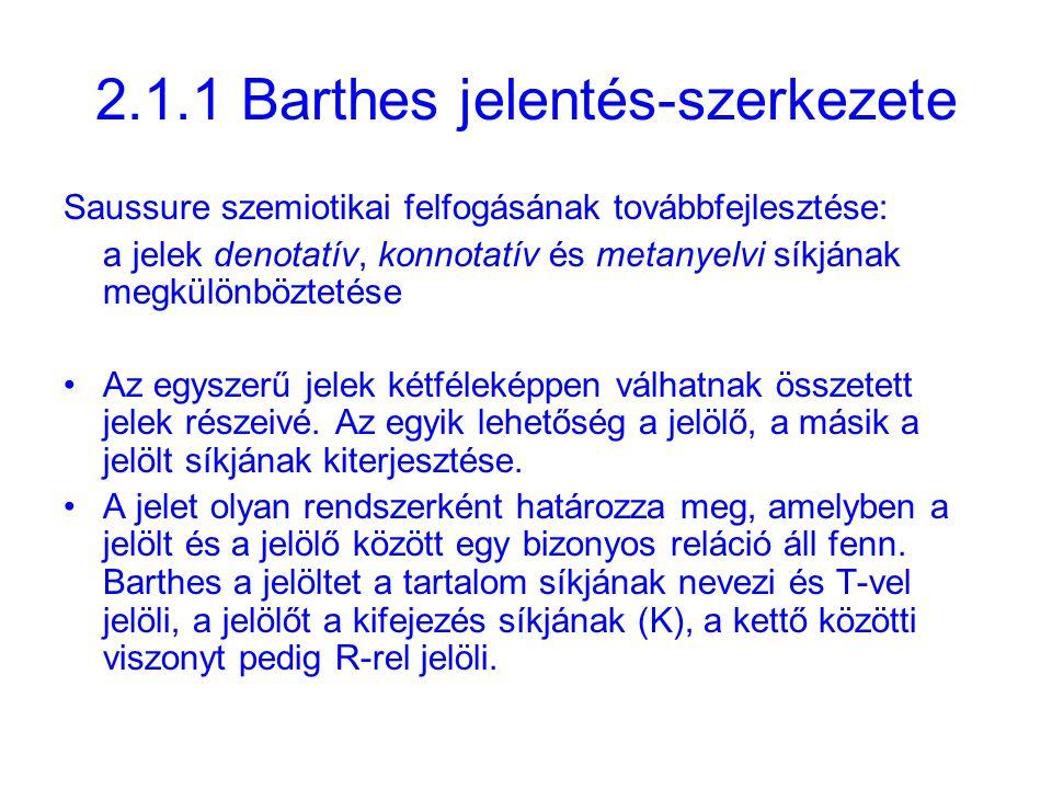 2.1.1 Barthes jelentés-szerkezete