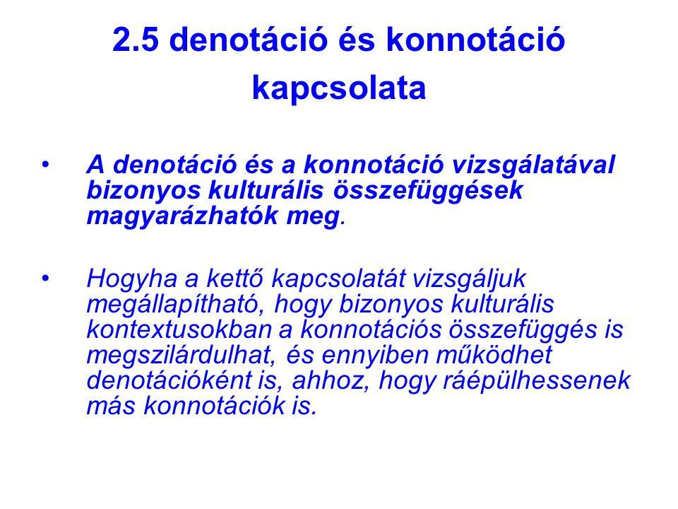 2.5 denotáció és konnotáció kapcsolata