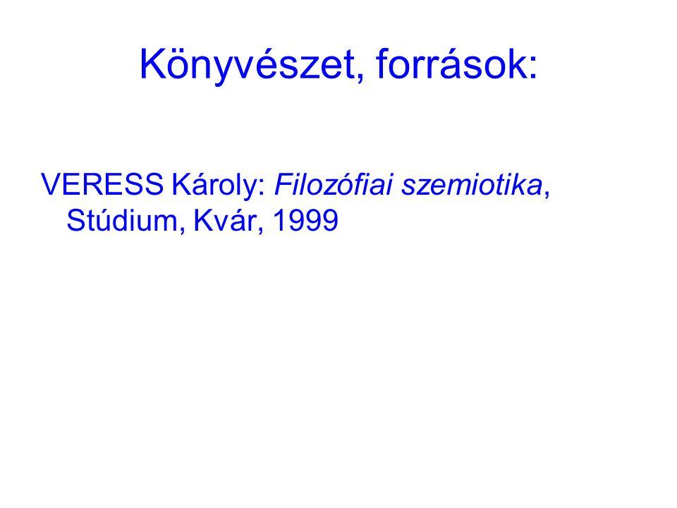Könyvészet, források: VERESS Károly: Filozófiai szemiotika, Stúdium, Kvár, 1999