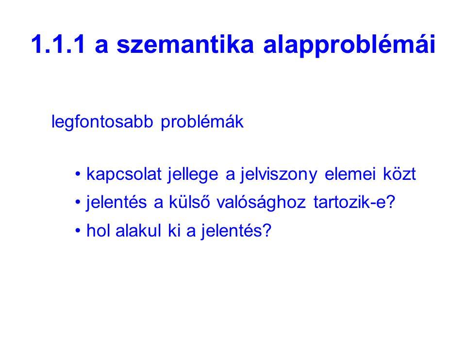 1.1.1 a szemantika alapproblémái