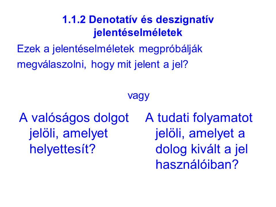 1.1.2 Denotatív és deszignatív jelentéselméletek