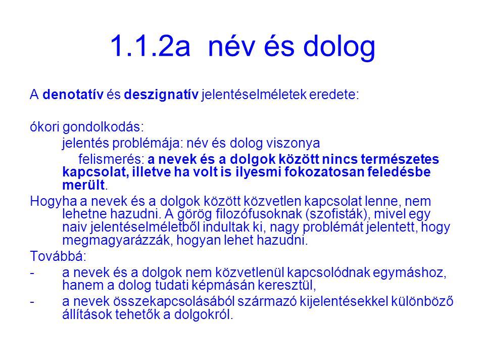 1.1.2a név és dolog A denotatív és deszignatív jelentéselméletek eredete: ókori gondolkodás: jelentés problémája: név és dolog viszonya.