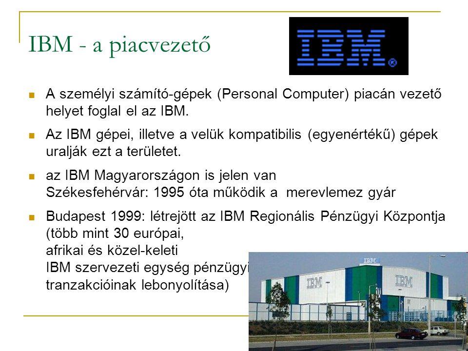 IBM - a piacvezető A személyi számító-gépek (Personal Computer) piacán vezető helyet foglal el az IBM.