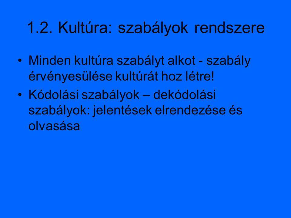 1.2. Kultúra: szabályok rendszere