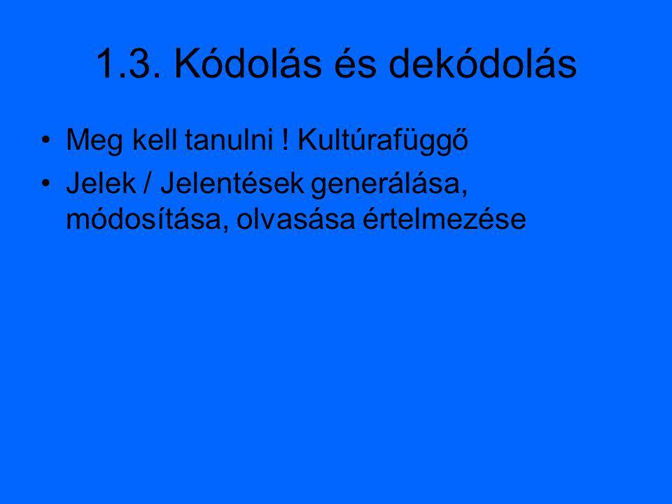 1.3. Kódolás és dekódolás Meg kell tanulni ! Kultúrafüggő
