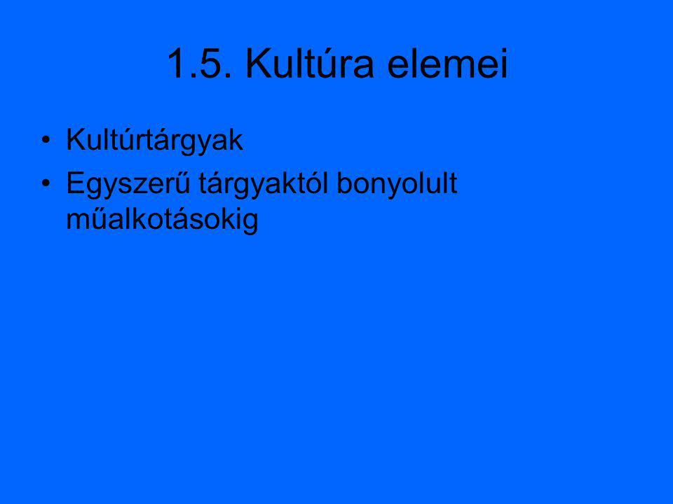 1.5. Kultúra elemei Kultúrtárgyak