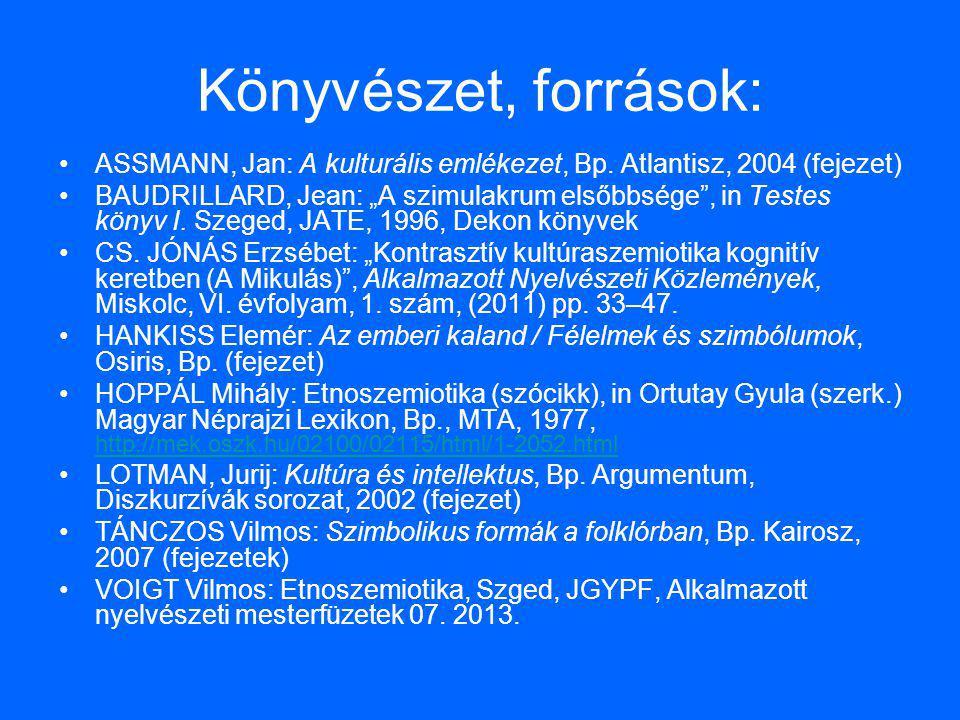 Könyvészet, források: ASSMANN, Jan: A kulturális emlékezet, Bp. Atlantisz, 2004 (fejezet)