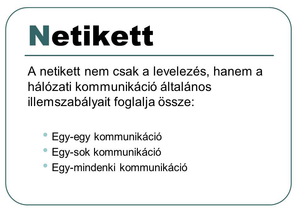 Netikett A netikett nem csak a levelezés, hanem a hálózati kommunikáció általános illemszabályait foglalja össze: