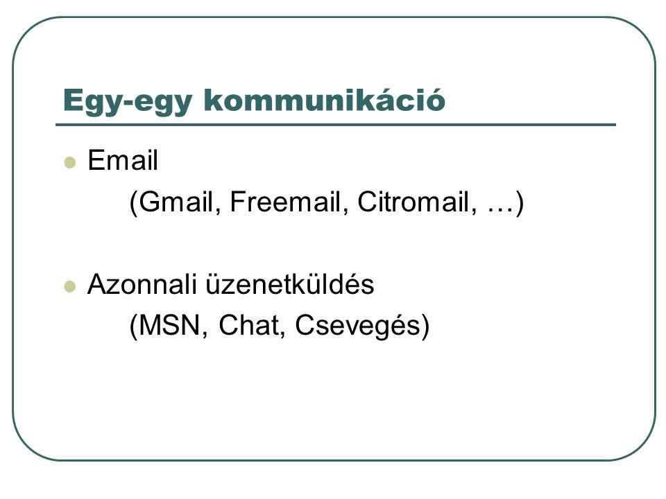 Egy-egy kommunikáció Email (Gmail, Freemail, Citromail, …)