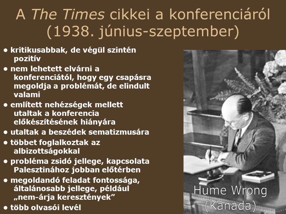 A The Times cikkei a konferenciáról (1938. június-szeptember)