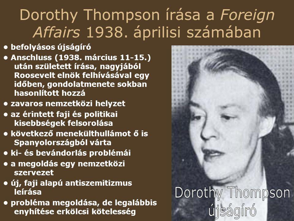 Dorothy Thompson írása a Foreign Affairs 1938. áprilisi számában