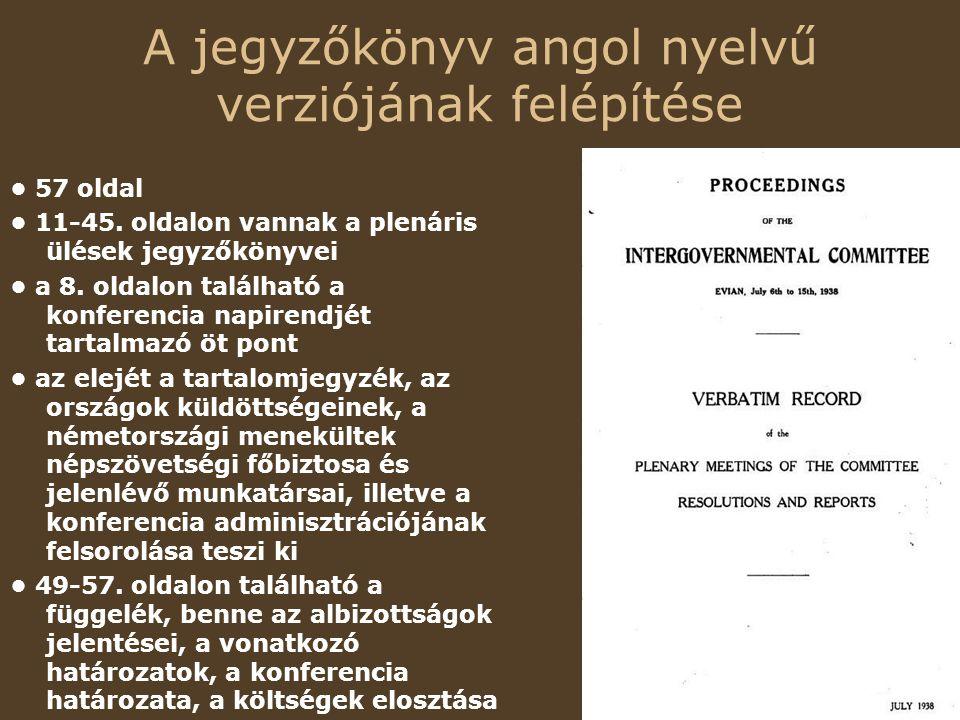 A jegyzőkönyv angol nyelvű verziójának felépítése