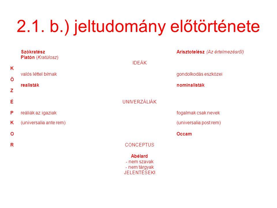 2.1. b.) jeltudomány előtörténete