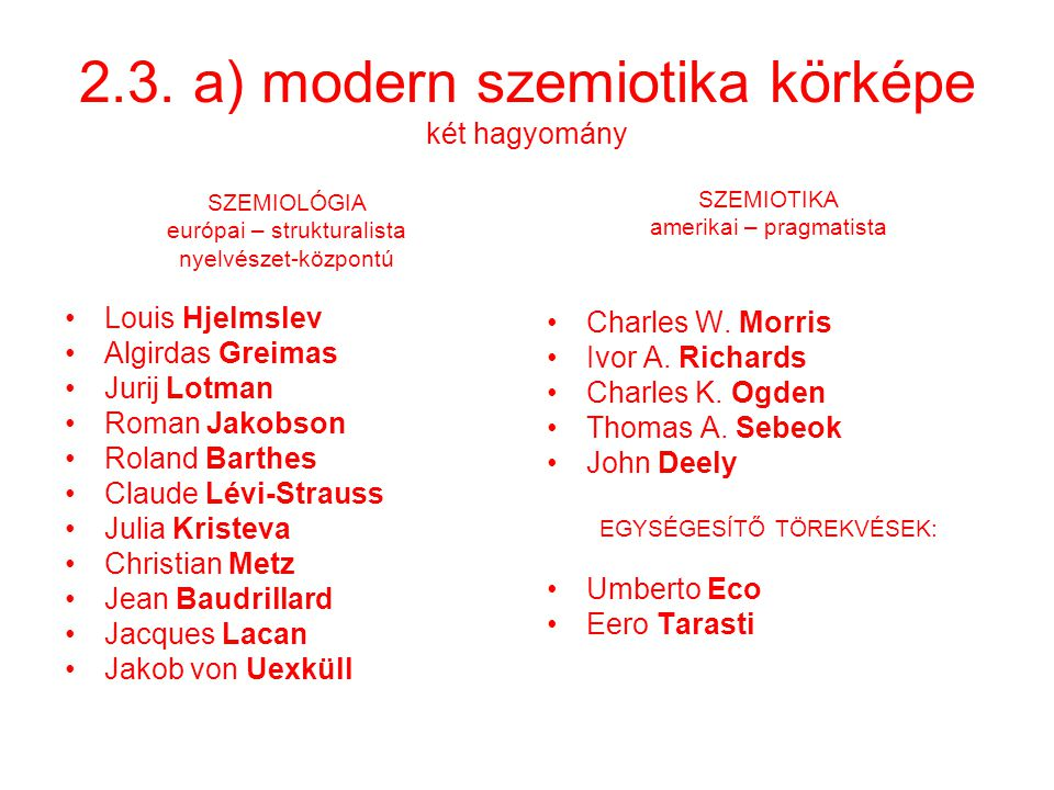 2.3. a) modern szemiotika körképe két hagyomány