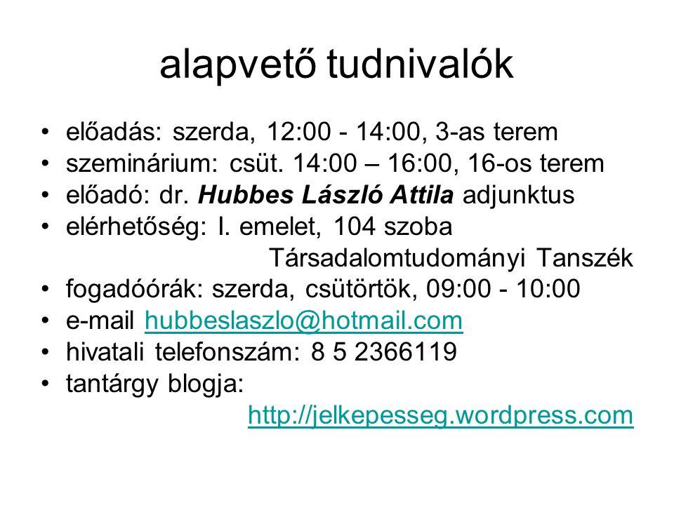 alapvető tudnivalók előadás: szerda, 12:00 - 14:00, 3-as terem