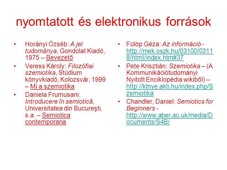 nyomtatott és elektronikus források