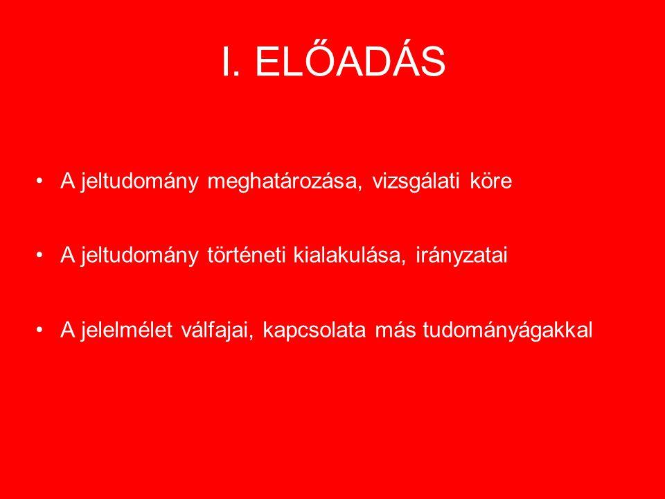 I. ELŐADÁS A jeltudomány meghatározása, vizsgálati köre